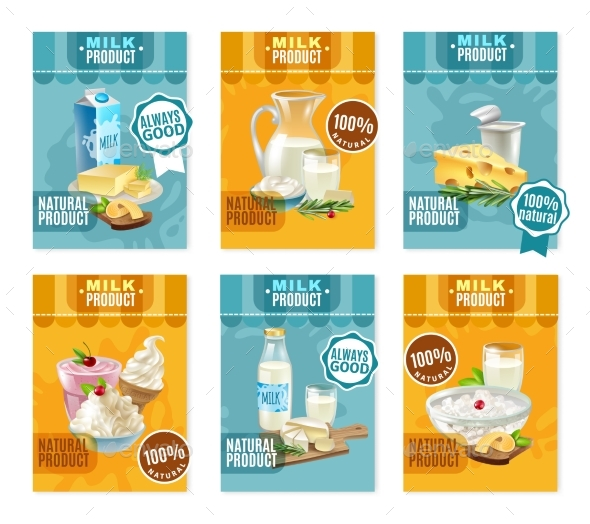 Dairy Products Banners Set - Food Objects