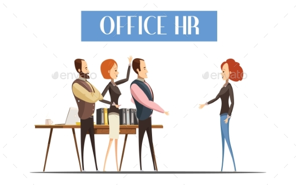 Office HR Cartoon Style Illustration - People Characters