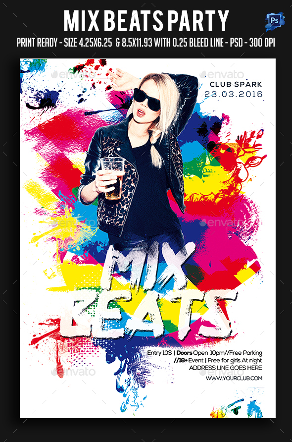 Mix Beats Party Flyer - Clubs & Parties Events