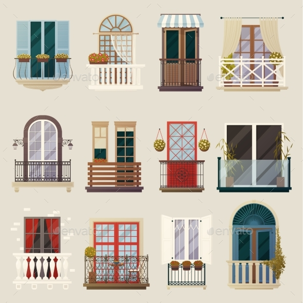Modern Classic Vintage Balcony Elements Collection - Buildings Objects