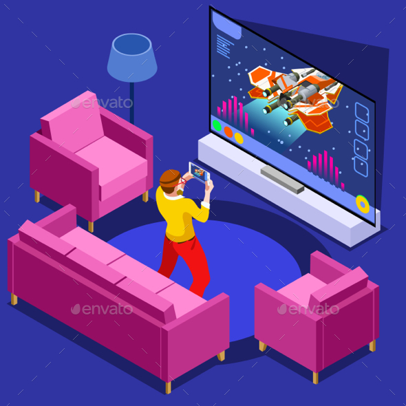 Video Game Computer Gaming Isometric Person Vector Illustration - Computers Technology