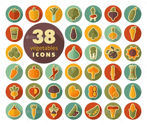 Vegetables flat icons set - Food Objects