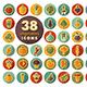 Vegetables flat icons set - GraphicRiver Item for Sale