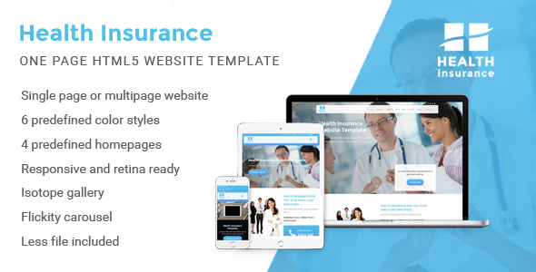 Health Insurance - One Page Website Template - Business Corporate