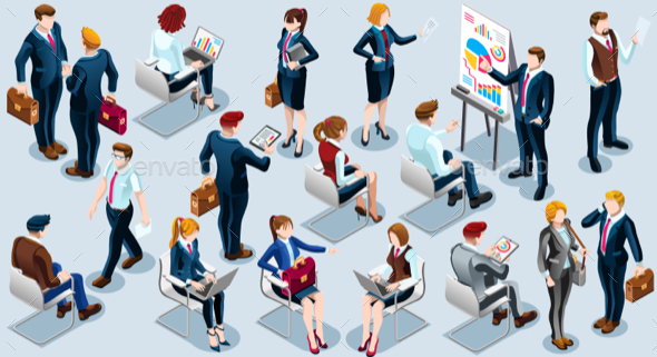 Isometric People Audience Icon 3D Set Vector Illustration - People Characters