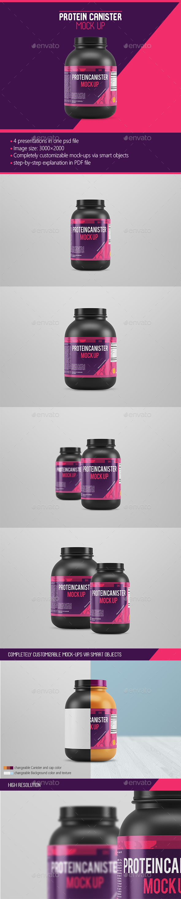 Protein Canister Mock Up - Food and Drink Packaging