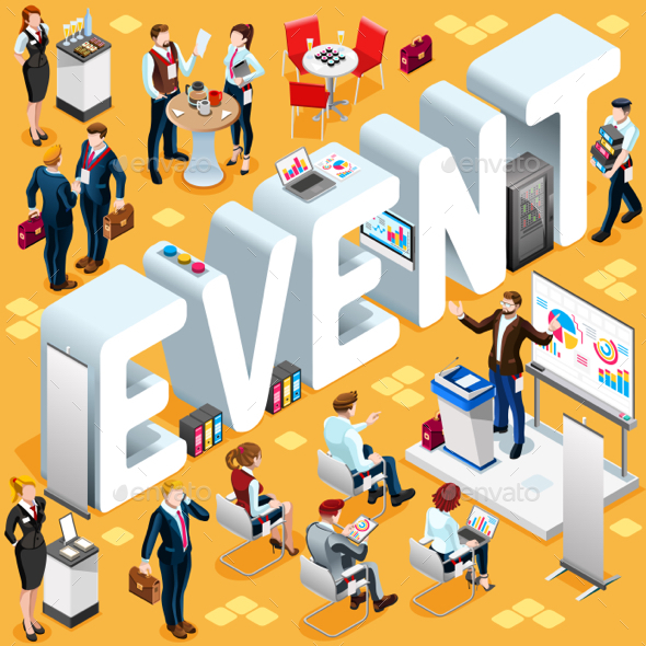 Isometric People Event Icon 3D Set Vector Illustration - Miscellaneous Vectors
