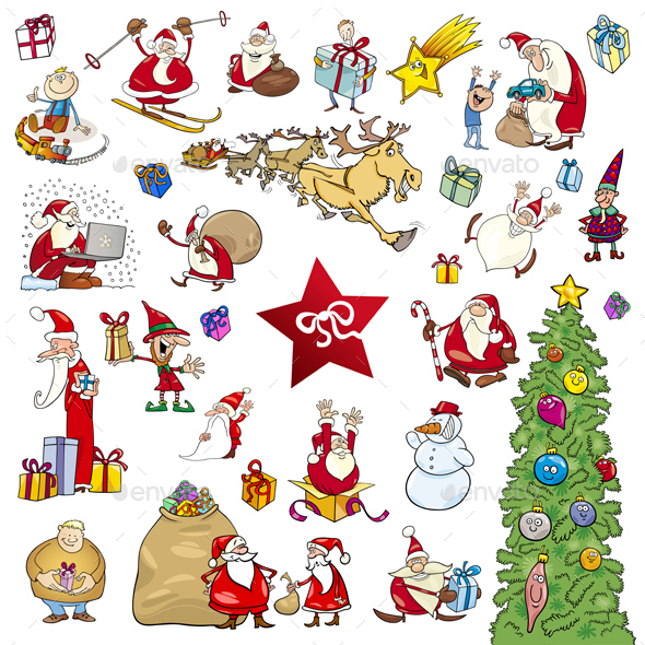 Cartoon Christmas Elements Set - Christmas Seasons/Holidays