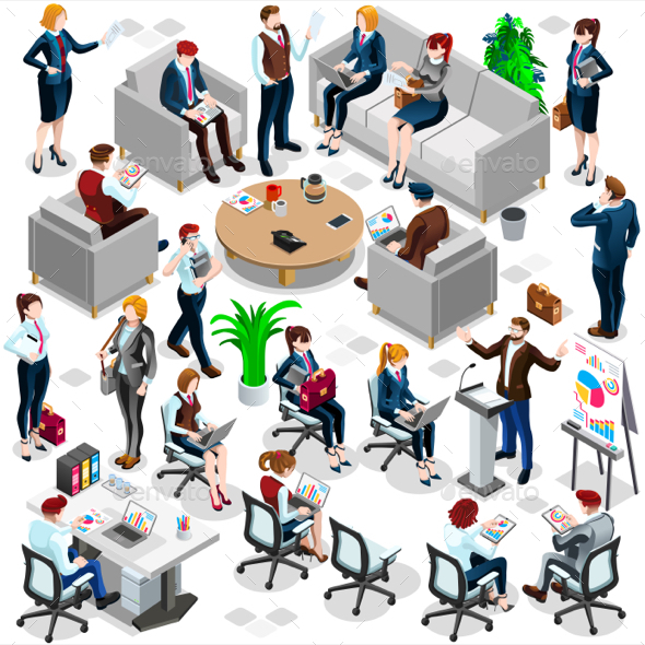 Isometric People Business Crowd Icon 3D Set Vector Illustration - People Characters