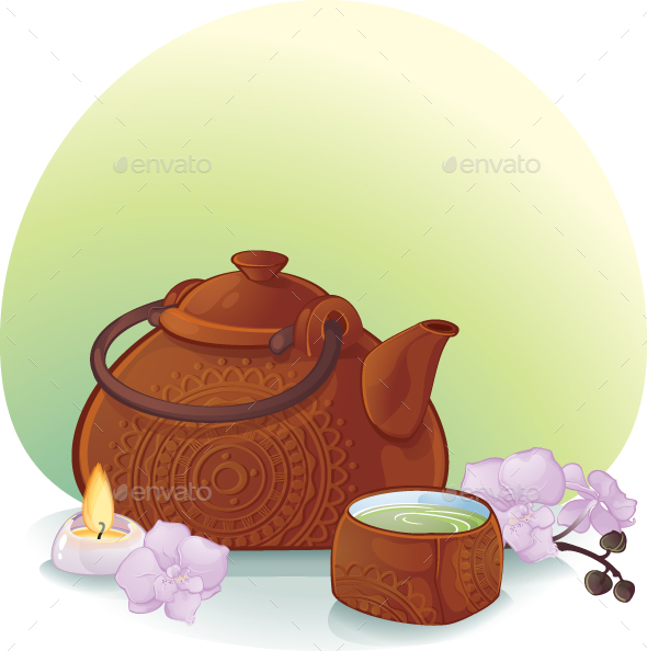 Tea Ceremony Illustration with a Ceramic Teapot and Orchid Flowers - Man-made Objects Objects