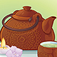 Tea Ceremony Illustration with a Ceramic Teapot and Orchid Flowers - GraphicRiver Item for Sale