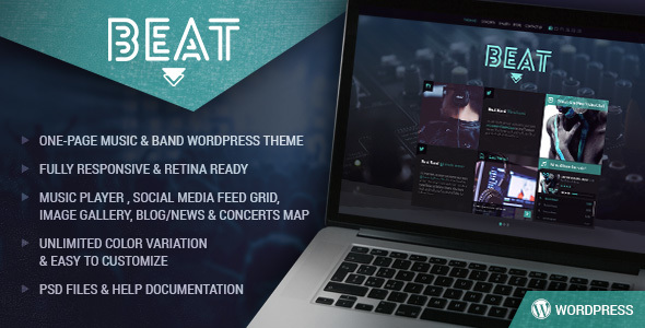 Beat – One-Page Music & Band AJAX WordPress Theme