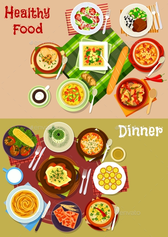 Bulgarian Cuisine Dishes Icon Set for Menu Design - Food Objects