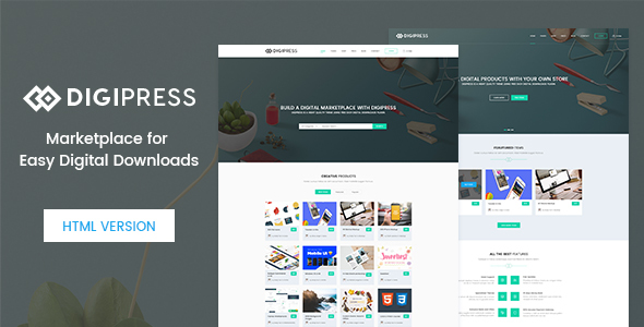 Digipress – Marketplace for Easy Digital Downloads HTML Template Free Templates