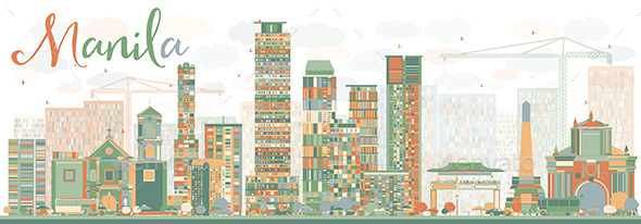 Abstract Manila Skyline with Color Buildings. - Buildings Objects
