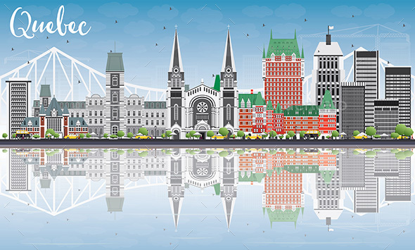 Quebec Skyline with Gray Buildings, Blue Sky and Reflections. - Buildings Objects