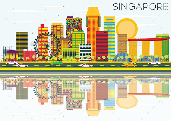 Singapore Skyline with Color Buildings, Blue Sky and Reflections. - Buildings Objects