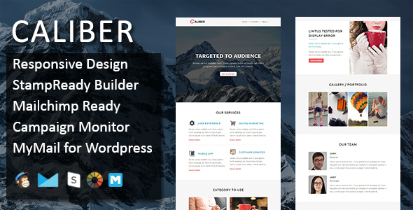 CALIBER – Multipurpose Responsive Email Template with Stamp Ready Builder Access