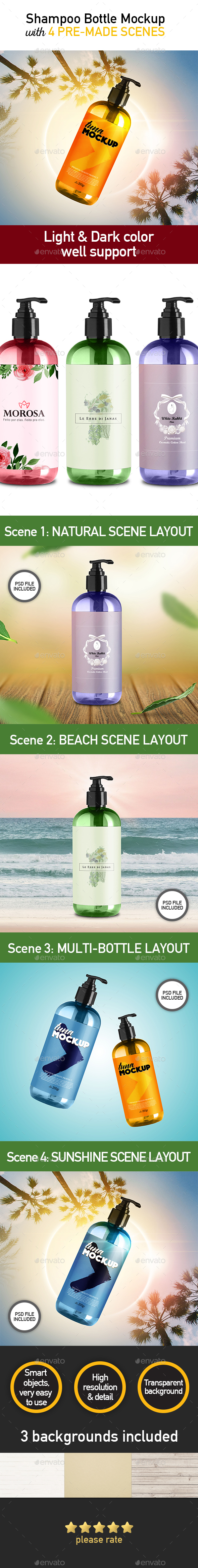 Set 4 Mockup - Shampoo Pump Bottle - Beauty Packaging
