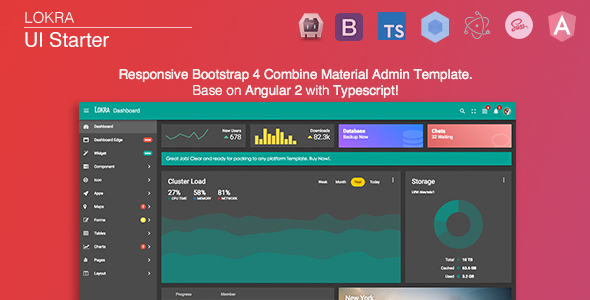 Lokra - Angular 4 Admin Template with Bootstrap 4 and Material Design - Admin Templates Site Templates