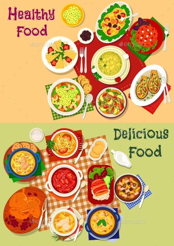 Russian Cuisine Soup and Fresh Salad Icon Set - Food Objects