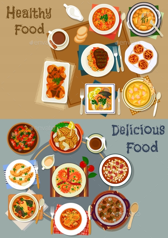 Portuguese Cuisine Dishes Icon Set for Menu Design - Food Objects