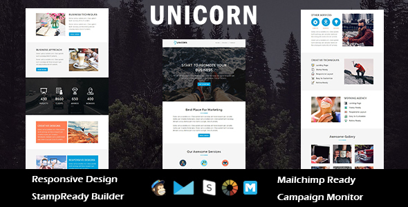 Image of UNICORN - Multipurpose Responsive Email Template + Stampready Builder