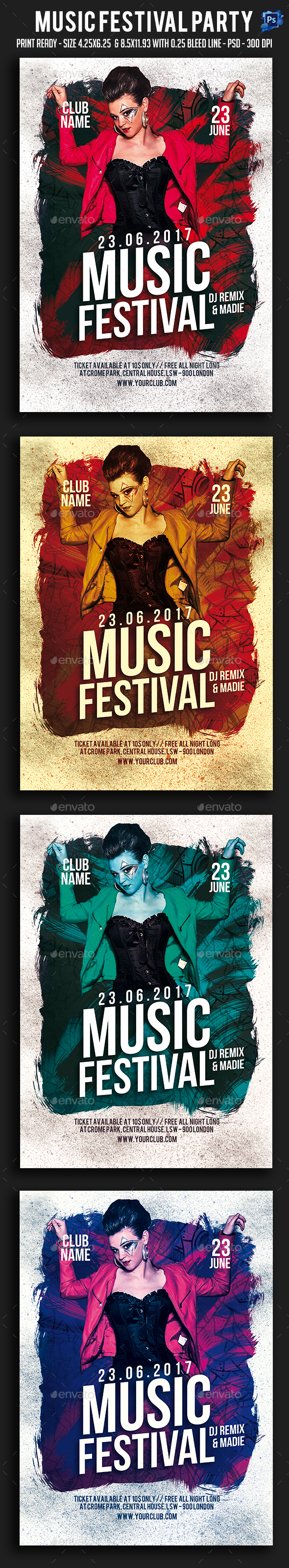 Music Festival Party Flyer - Clubs & Parties Events