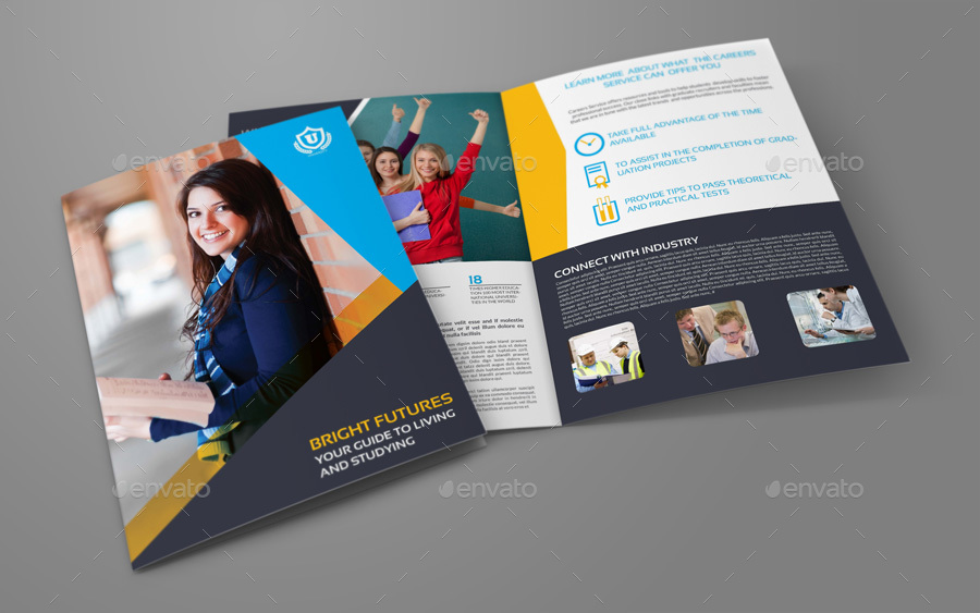 University college bi fold brochure template by for College brochure templates free download