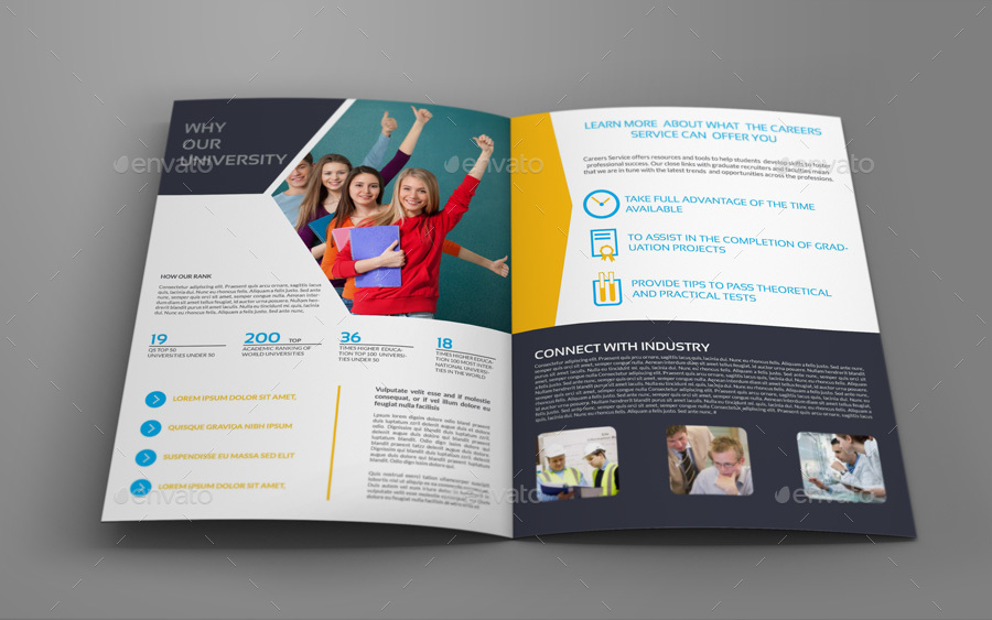 University College Bi Fold Brochure Template By Owpictures