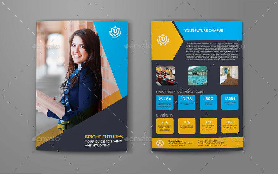 University  College BiFold Brochure Template By Owpictures
