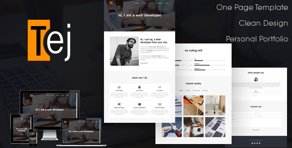 Tej | One Page Personal Portfolio HTML Template