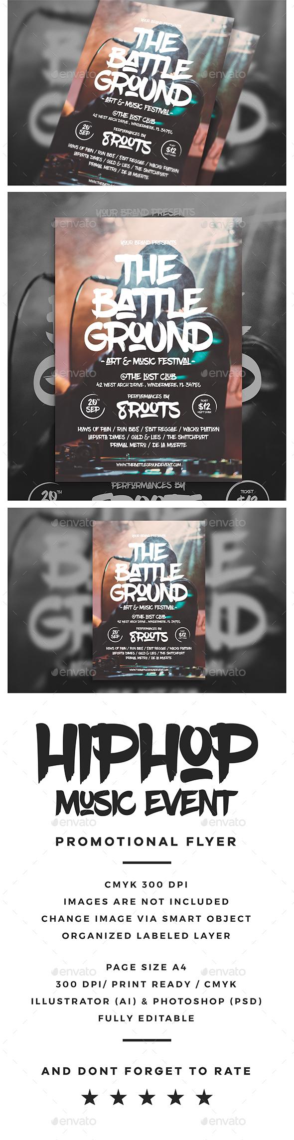 Hip Hop Event Flyer - Clubs & Parties Events
