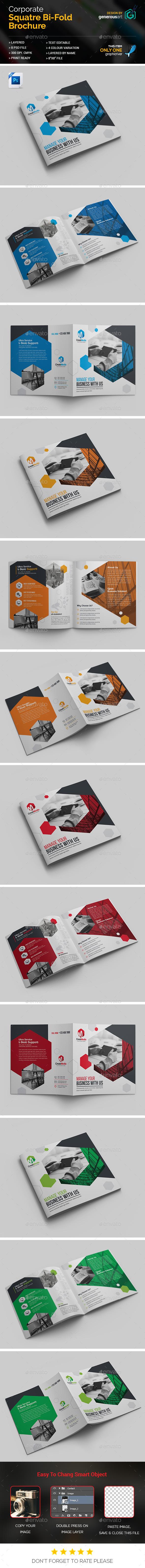 Business Square Bi-Fold Template - Corporate Brochures