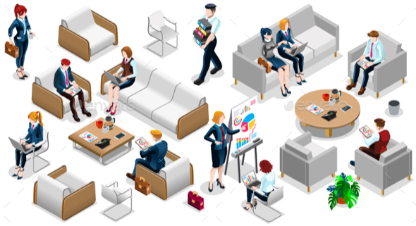 Isometric People Business Team Icon 3D Set Vector Illustration - People Characters