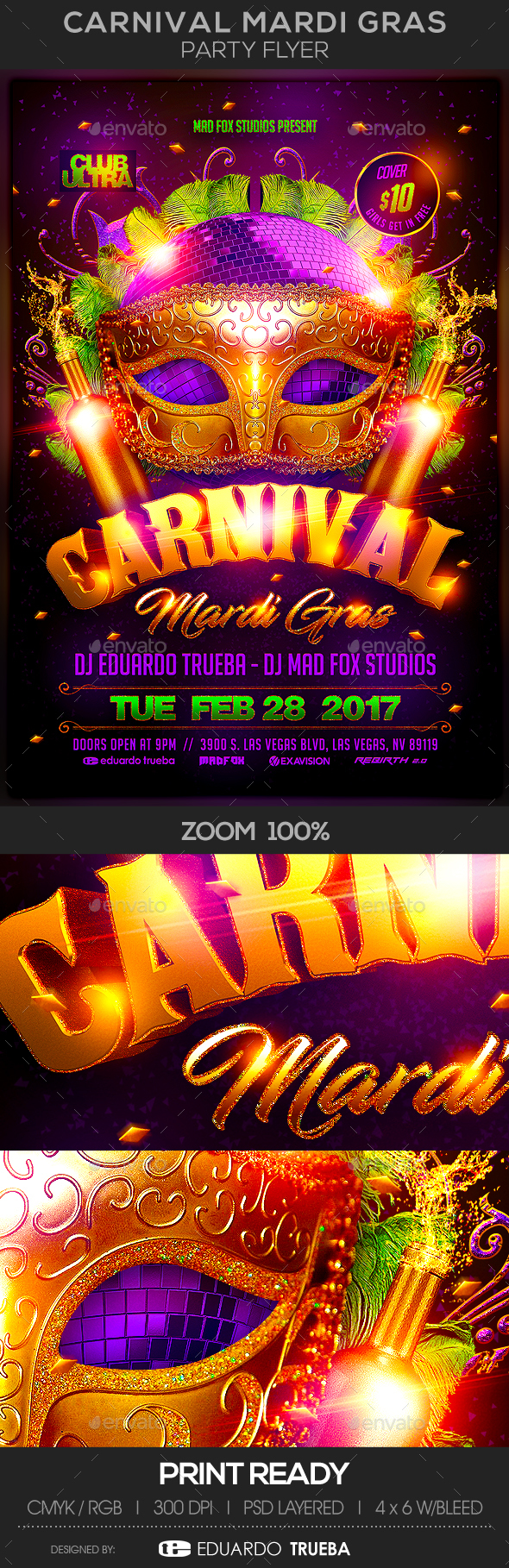 Carnival Mardi Gras Party Flyer - Events Flyers