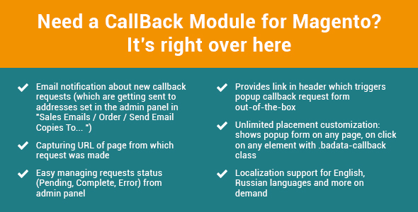 FastCallBack - call back tracking for Magento - CodeCanyon Item for Sale