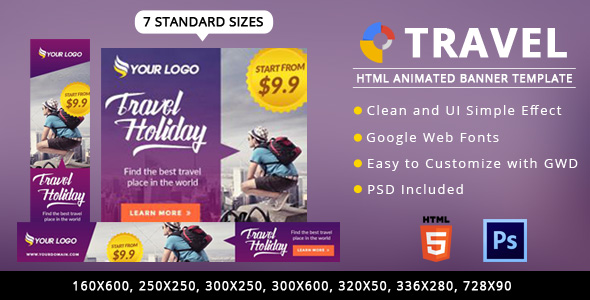 Travel Ads Banner HTML5 - GWD - CodeCanyon Item for Sale