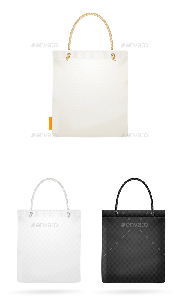 Realistic White and Black Template Blank Fabric Cloth Tote Bag - Man-made Objects Objects