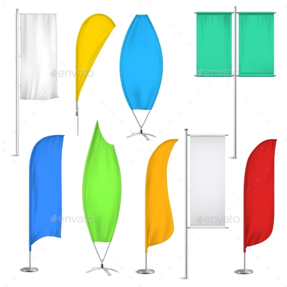 Advertisement Flags and Banners Icon Set - Retail Commercial / Shopping