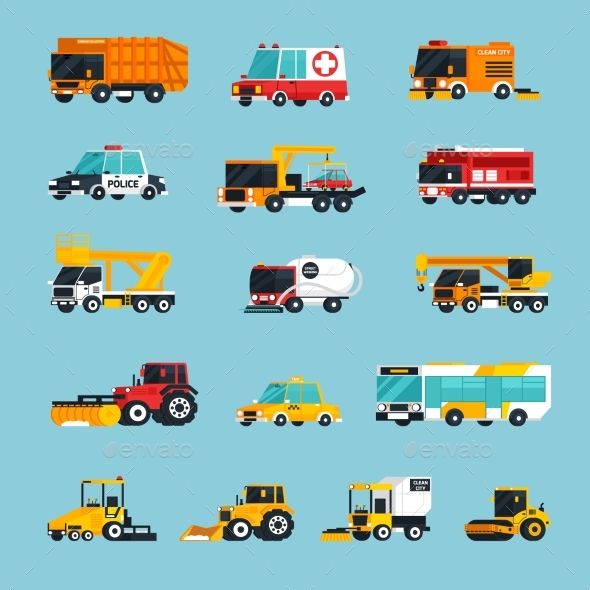 Special and Emergency Transport Infographics - Man-made Objects Objects