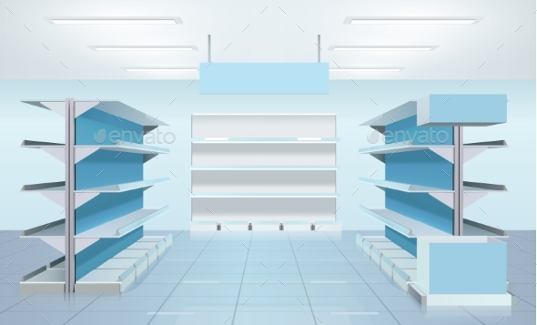 Empty Supermarket Shelves Design - Retail Commercial / Shopping