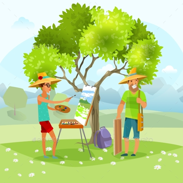 Nature Artist Painting Landscape - People Characters