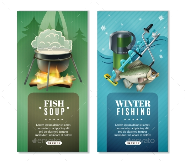 Winter Fishing 2 Vertical Banners Set - Landscapes Nature
