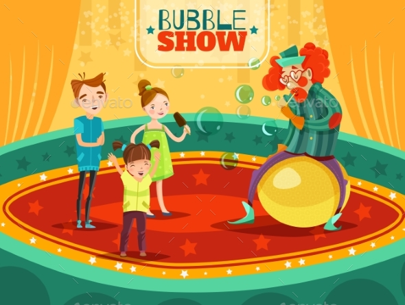 Circus Clown Performance Bubble Show Poster - People Characters