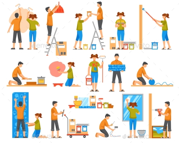 Home Renovation Flat Color Decorative Icons - People Characters
