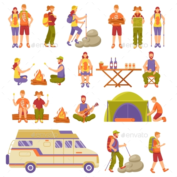 Outdoor Summer Travel Icons Set - Travel Conceptual