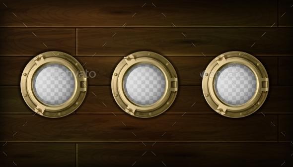 Ship Portholes Set - Man-made Objects Objects