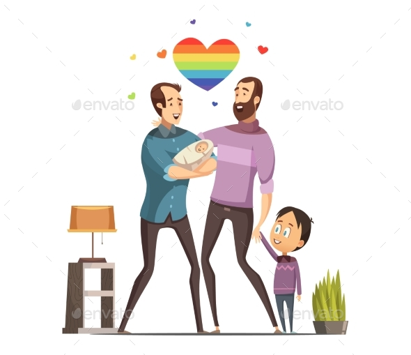 Gay Loving Family Retro Cartoon Illustration - People Characters