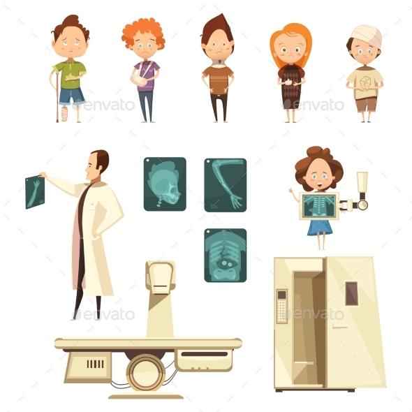 Bone Injury X-ray Cartoon Icons Collection - Health/Medicine Conceptual